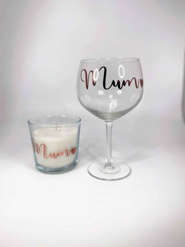 Lit Up Personalised Gin Glass and Candle Set